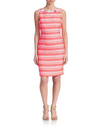White and Red Horizontal Striped Sheath Dress