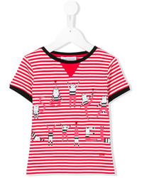Rykiel Enfant Cat Print Striped T Shirt
