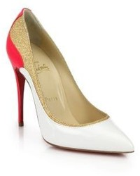 White and Red Leather Pumps