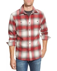 White and Red Plaid Long Sleeve Shirt