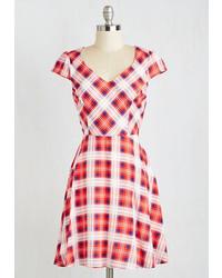 White and Red Plaid Skater Dress