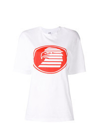 White and Red Print Crew-neck T-shirt
