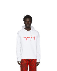 White and Red Print Hoodie