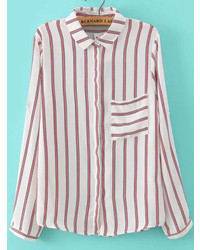 1e7f91785bd How to Wear a White and Red Vertical Striped Dress Shirt For Women ...