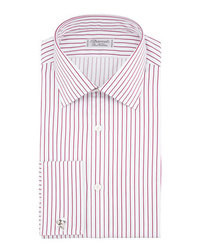 Charvet Satin Stripe French Cuff Dress Shirt Redwhite