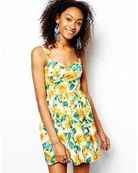 Cupped cami dress in sunflower print medium 75275