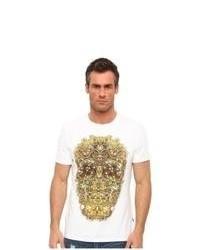 White and Yellow Print Crew-neck T-shirt