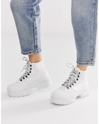 ASOS DESIGN Dash Chunky Hi Top Trainers In White Croc