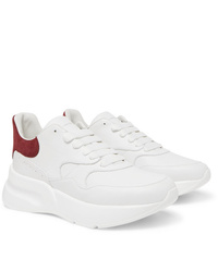Alexander McQueen Exaggerated Sole Suede Trimmed Leather Sneakers