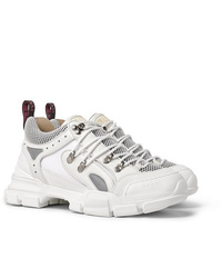 Gucci Flashtrek Rubber Leather Mesh And Suede Sneakers