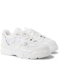 Maison Margiela Fusion Rubber Trimmed Distressed Leather Sneakers
