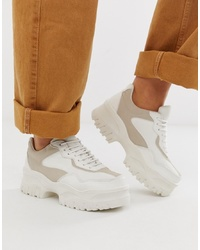 ASOS DESIGN Wide Fit Dart Chunky Trainers In White