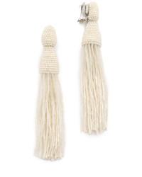 Long bugle bead tassel clip on earrings medium 698324