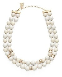 Stone bead two row collar necklace medium 344781