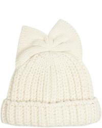 Bow detail knitted beanie hat medium 1210547