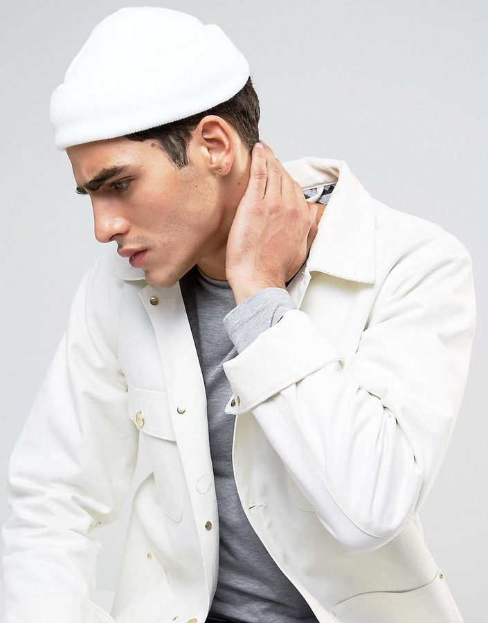 ... Asos Mini Fisherman Beanie In White ... f3533195fb0
