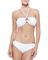 Michael Kors Michl Kors Draped Jersey Bandeau Bikini Two Piece White