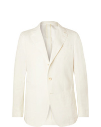 Caruso Cream Butterfly Cotton Linen And Silk Blend Suit Jacket