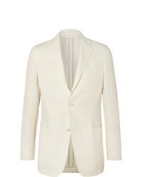 Ermenegildo Zegna Cream Slim Fit Unstructured Linen Cotton And Silk Blend Canvas Blazer