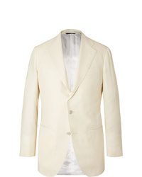 Saman Amel Off White Wool Silk And Linen Blend Twill Suit Jacket