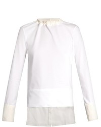 Marni Long Sleeved Cotton Poplin And Jersey Top