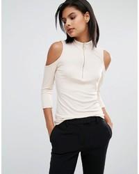 Vero Moda Zip Ribbed Cold Shoulder Top