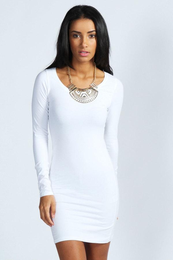 Long sleeve jersey dress white