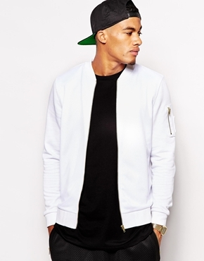 7fa0b57eb1b ... Asos Bomber With Mesh Panel In Jersey White