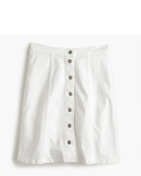 J.Crew Button Front White Denim Mini Skirt