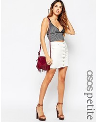 Asos Petite Denim Button Front Mini Skirt In White