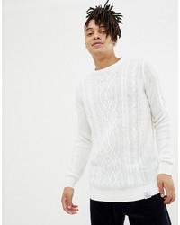 YOURTURN Cable Knit Jumper In White