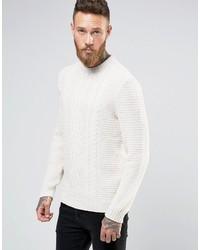 Asos Cable Sweater In Ecru
