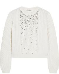 Miu Miu Crystal Embellished Cable Knit Sweater