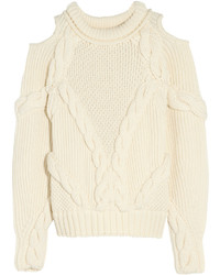 Alexander McQueen Cutout Cable Knit Wool Sweater