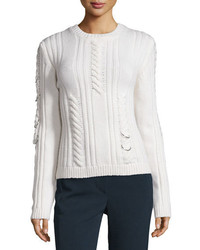 Thierry Mugler Mugler Pierced Cable Knit Sweater Off White