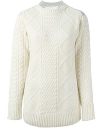 Sacai Luck Two Tone Cable Knit Sweater