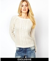 Vila Swirl Cable Knit Sweater White