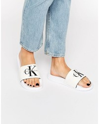 White Canvas Flat Sandals