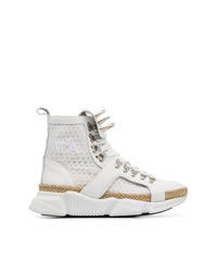 MARQUES ALMEIDA Marquesalmeida White Spike Mesh And Leather High Top Sneakers