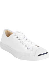 White Canvas Low Top Sneakers