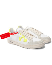Off-White 20 Distressed Suede Trimmed Canvas Sneakers