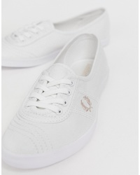 Fred Perry Aubrey Twill Trainer With Pink Logo Crest