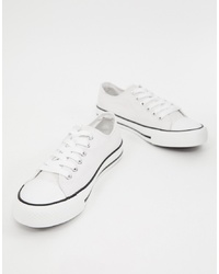 XTI Canvas Lace Up Trainers Canvas