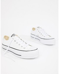Converse Chuck Taylor Leather Platform Low Trainers In White