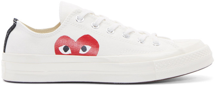 Comme Des Garcons Play White Heart Logo Converse Edition Sneakers