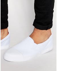 Asos Brand Slip On Sneakers In White Canvas With Toe Cap