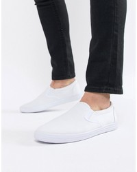 ASOS DESIGN Slip On Plimsolls In White Canvas