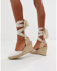 ASOS DESIGN Jaylen Espadrille Wedges In White