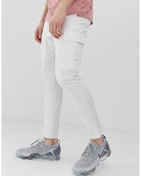 ASOS DESIGN Super Skinny Ankle Grazer Cargo Trousers In White