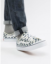 White Check Canvas Low Top Sneakers